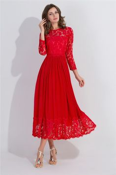 Elegant A Line Tea Length Red Chiffon Lace Prom Dress With Sleeves