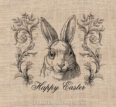 Happy Easter Bunny Rabbit Digital Collage by DreamDigitalDownload