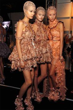 Alexander McQueen girls backstage (s/s 2012).