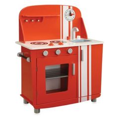 Kids Red Vintage Kitchen Stove Oven Sink Pretend Play Cook And Clean Young Chef Stove Oven, Kitchen Stove, Red Kitchen, Vintage Kitchen, Kitchen Decor, Kitchen Ideas, Kitchen Shelves, Kitchen Tips, Kitchen Cabinets