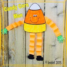 Free template for the Candy Corn Man Fall Preschool, Kindergarten Crafts, Classroom Crafts, Preschool Crafts, Daycare Crafts, Toddler Crafts, Man Crafts, Fall Crafts For Kids, Craft Projects For Kids