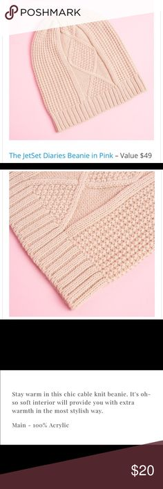 The JetSet Diaries Cable Knit Beanie in Pink This is a soft 100% acrylic knit beanie with a looser fit TJD Accessories Hats