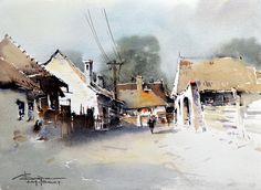 Watercolour-Acuarela-Corneliu-Dragan-Targoviste-peisaj-rural-4