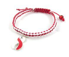Red and White Awareness Macrame Bracelet  by EledesignbyLauren, $3.00