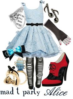 Wonderland stylish outfit ideas alice in wonderland edc disney dresses, won Disney Bound Outfits, Disney Inspired Outfits, Themed Outfits, Disney Dresses, Disney Style, Disney Clothes, Disney Shirts, Mode Outfits, Stylish Outfits