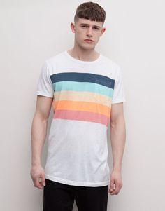 Pull&Bear - hombre - camisetas - camiseta panles rayas - blanco - 05241568-V2015