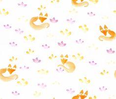 Aquarella_fox fabric by un_temps_de_coton on Spoonflower - custom fabric