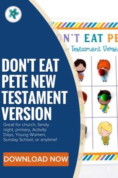 This happy and colorful Don't Eat Pete New Testament printable game is so much fun! Get yours now! #DontEatPete #NewTestamentPrintables #LatterDaySaint #LDSprintable #Ministering #MinisteringPrintables Lds Blogs, Primary Activities, Bible Games, Lds Primary, Family Night, Activity Days, New Testament, Sunday School, Games For Kids
