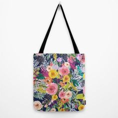 Beautiful Autumn Blooms Tote Bag in Customizable Colors. Perfect for Spring and Summer. Add some color and fun to your day