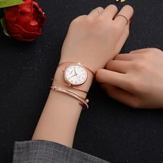 Time to get elegant. Rose-gold watchband – right on time, right on trend. Cheap Luxury Watches, Women's Dress Watches, Swiss Army Watches, Rose Gold Watches, Fashion Watches, Fashion Bracelets, Watch Bands, Bracelet Watch, Quartz