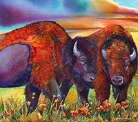 Nancy Cawdrey - New Paintings Include Buffalo, Bears, & Tipi Paintings Bigfork Montana, Famous Art Pieces, Marshall University, American Bison, Oil Pastel Paintings, Santa Fe Style, Sky Photos, Animal Totems, Western Art