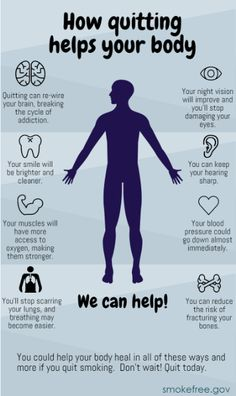 Your body will thank you! Check out all of these awesome health benefits you can expect once you quit. #Smokefree