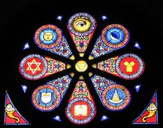 """Stained glass, this remind me of the """" Forget Me Not"""" look close. Masonic Symbols, Sacred Symbols, Ancient Symbols, Hidden Mystery, Pantheism, Esoteric Art, Freemasonry, Knights Templar, Sacred Geometry"""