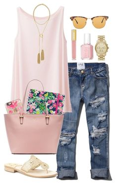 pinky pink pink by littlebitofeverything on Polyvore featuring polyvore fashion style Uniqlo Abercrombie & Fitch Jack Rogers Kate Spade MICHAEL Michael Kors Kendra Scott Ray-Ban Casetify Isaac Mizrahi Lilly Pulitzer Essie clothing