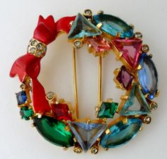 Signed Eisenberg Original Christmas Wreath Bow Rhinestone Fur Clip Pin | eBay