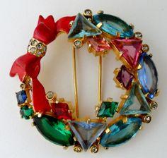 Signed Eisenberg Original Christmas Wreath Bow Rhinestone Fur Clip Pin | eBay