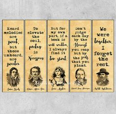 Authors Quotes Bookmarks Literary Bookmarks Printable Bookmarks