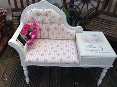 Upcycled telephone seat with Laura Ashley fabric x