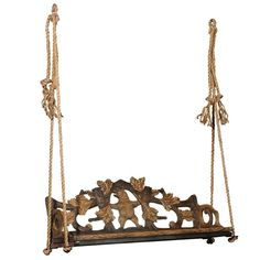 Black Forest 1890s Carved Bench with Bear Motif Made into a Swing, Switzerland | From a unique collection of antique and modern Patio and Garden Furniture at https://www.1stdibs.com/furniture/building-garden/garden-furniture/.
