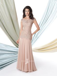 Blush Cap Sleeve Boat Neck Lace Bodice Floor Length A-line Long Mother of the Bride Dress