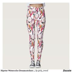 Hipster Watercolor Dreamcatchers Feathers Pattern Leggings