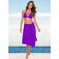 Venus Women's Convertible Dress/skirt Cover-Up (25 CAD) ❤ liked on Polyvore featuring swimwear, cover-ups, purple, cover up swimwear, purple swimwear, venus swimwear, sash belt and venus cover up