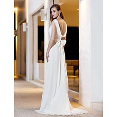 A-line Square Sweep/Brush Train Georgette And Satin Wedding Dress (783880) – USD $ 149.99