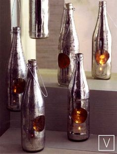 ANTIQUED Mercury GLASS RECYCLED BOTTLE TEALIGHT CANDLEHOLDER