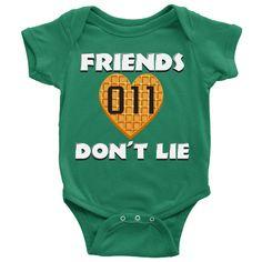 Friends Don't Lie Stranger Heart Shaped Waffle Eleven Baby Romper Onesie Baby Boy Baby Girl https://presentbaby.com