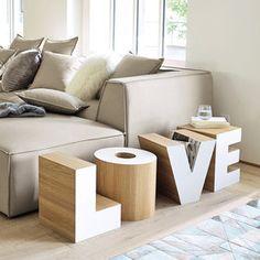 Bout de canapé en bois blanc L 121 cm LOVE Home Decor Furniture, Furniture Design, Home Living Room, Living Spaces, Home Salon, Shelf Design, Room Decor, Interior Design, Interior Ideas