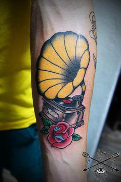 gramophone tattoo