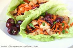 Kitchen Concoctions: Cherry Chicken Lettuce Wraps #dinner #recipe #chicken
