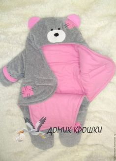 """Overalls envelope for the newborn """"Bear- Комбинезон-конверт для новорожденного """"Миш… Overalls envelope for the newborn """"Teddy Bear"""" gray-pink – buy in the online store at the Fair of Masters with delivery - Kids Blankets, Baby Swaddle Blankets, Baby Sewing Projects, Sewing For Kids, Sewing Crafts, Baby Outfits, Baby Knitting, Crochet Baby, Baby Kind"""