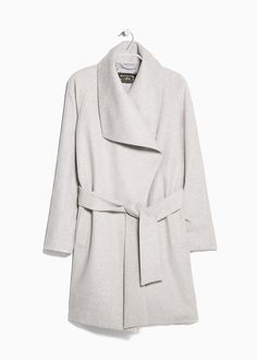 Lapels wool-blend coat. Great shape. It can be styled casual or dressy. Grey is my favorite neutral.