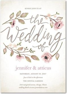 This vintage floral watercolor wedding invitation is the perfect combination of pastel pinks and handwritten elements.