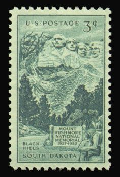 POSTAGE STAMPS:  South Dakota - Mount Rushmore Stamp. I have this stamp framed and displayed in my office. 3-cent stamp, dated 1952. Issued on 25th anniversary of the beginning of the mountain carving.
