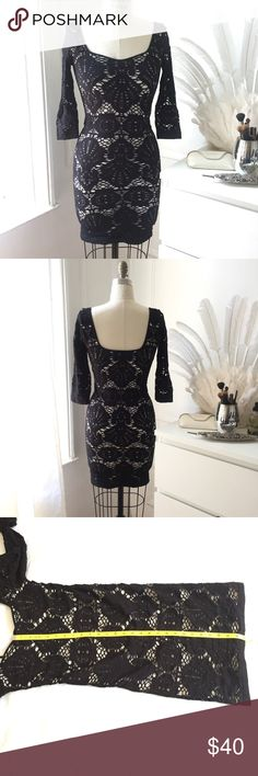 """Free people intimately seamless bodicon dress Black and white medallion lace bodicon dress. Center from length from cleavage: 27 1/4"""" while flat  PS ❤️: Follow my IG for some of my own designs: @nataliedaemiofficial Free People Dresses Mini"""