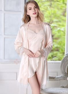 4c27757c9 2017 Robe Gown Set Sexy Women Nightwear 2 pieces set Silk Bathrobe Home  Dress Sleepwear Nightdress