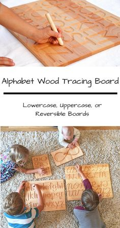 Alphabet Wood Tracing Board Lowercase and/or Uppercase - This would be great for my son to practice letters at home! #montessori #kids #gift #ad