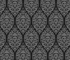 Spooky Damask - Black fabric by pattysloniger on Spoonflower - custom fabric