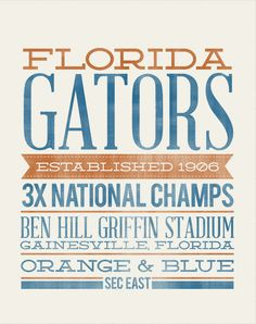 FLORIDA GATORS Rustic Typography, the perfect Christmas gift for a #Gator fan!