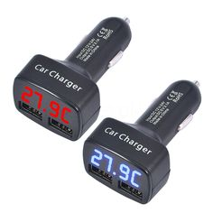 Universal 4 in 1 Car Dual USB Charger DC 5V 3.1A with Voltage/temperature/Current Meter Tester Adapter Digital LED Display