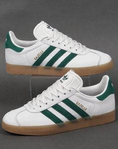 94d970de52e0 Adidas Gazelle Leather Trainers in White Green Gum Trainer Cheap Sale UK Adidas  Gazelle White