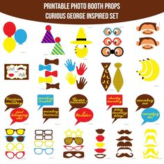 Instant Download Curious George Inspired Printable Photo Booth Prop Set for $4.99 #onselz