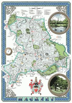 This is an original illustrated map of Hackney, a borough of London, UK, inspired by decorative antique map prints and the designs of MacDonald Gill entirely hand-drawn and digitally coloured. London Borough Map, London Map, East London, Hackney Central, London Boroughs, County Map, Picture Hangers, Map Design, Graphic Design