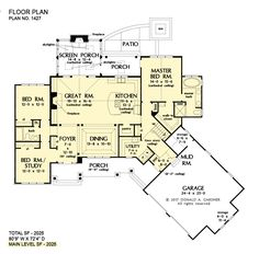 Plan of the Week Under 2500 sq ft - The Oliver house plan 2025 sq ft, 3 beds, 2 baths. Plan of the Week Under 2500 sq ft - The Oliver house plan 2025 sq ft, 3 beds, 2 baths. House Plans One Story, Best House Plans, Dream House Plans, Small House Plans, House Floor Plans, 2200 Sq Ft House Plans, Dream Houses, Farm Houses, Craftsman Style House Plans
