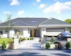 Willa parterowa on Behance My House Plans, House Layout Plans, Modern House Plans, Modern Bungalow Exterior, Modern Bungalow House Design, Morden House, House Outside Design, Beautiful House Plans, Village House Design