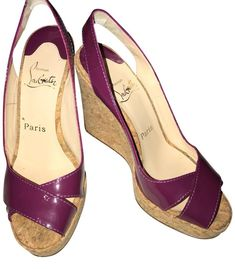 968ab8f2be8 Christian Louboutin -Red Bottoms- Magenta Purple Spring Summer Wedges Size  37.5