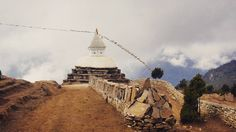 I lost track of how many Buddhist Stupas I passed on my way up to EBC but this one set against the sky at the top of Namche really struck me.  #breathingoneverest #nepal #stupa #buddhism by studio_sierra