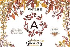 Fall Foliage - Autumn Greenery Graphics Autumn Leaves and wreaths for creating monograms, wedding invites, stationery, or designing beautifu by Kelly Jane Creative